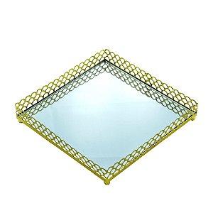 Bandeja Metal Espelhada Quadrada Arch Border Dourado 16,5x16,5x3cm 44354