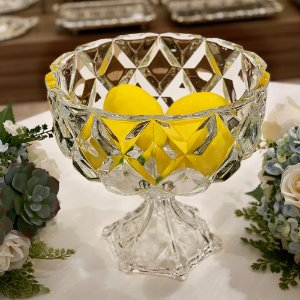 Fruteira Centro de Mesa de Cristal Deli Grande com Pé Grande 24,5x24cm 4432