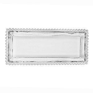 Travessa Retangular Pearl Bolinhas Transparente 30cm 27891