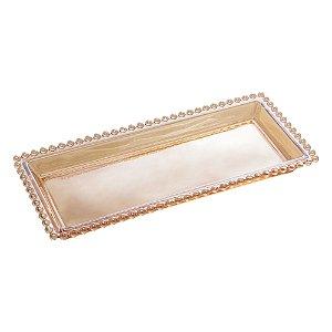 Travessa de Cristal de Chumbo Pearl Bolinhas Âmbar  30cm 28225