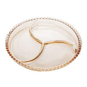 Petisqueira Cristal de Chumbo Âmbar Bolinhas Pearl 28224
