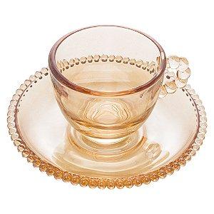 Jogo 4 Xícaras P/ Café Com Pires Cristal Pearl Bolinhas Âmbar 80ml 28235