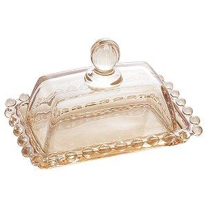 Manteigueira Pearl Bolinhas Âmbar Pequena 14cm 28221