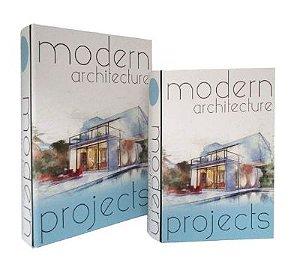 Conj com 2 Livro Caixa de Madeira Modern Architeture GA3030