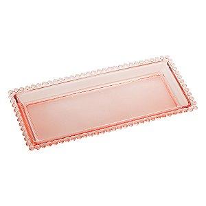 Travessa de Cristal de Chumbo Pearl Bolinhas Rosa  30x13x3cm 28438