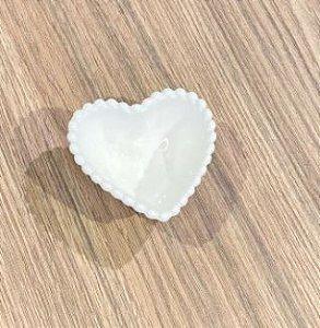 Mini Bowl Coração Pequeno Cerâmica Branco 7,5x7x3cm 62017