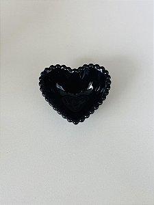 Mini Bowl Coração Pequeno Cerâmica Preto 7,5x7x3cm
