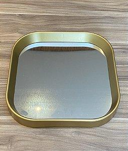 Bandeja Quadrada Moldura Plástico Dourado com Espelho 25x25cm 34007
