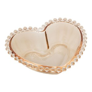 Conj 4 Bowls Cristal de Chumbo Coração Pearl Bolinhas Âmbar 12x10x4cm 28397
