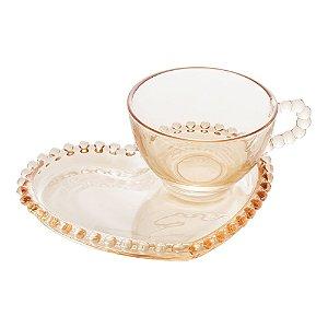 Xícara Chá Cristal com Pires Coração Pearl Âmbar 180ml 28404