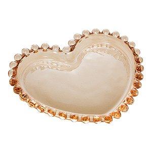 Conj 4 Pratos Pequenos Cristal Coração Pearl Âmbar 12cm 28392