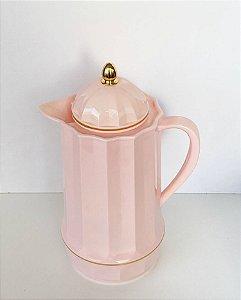 Garrafa Térmica de Plástico Gênova Rosa Candy e Dourado 1 Litro 1527