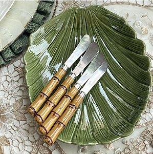 Conj 4 Espátulas Inox com Cabo Plástico Bambú Natural Luxo 6988