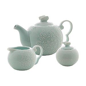 Conj 3 Peças Porcelana para Chá Butterfly Azul 28746