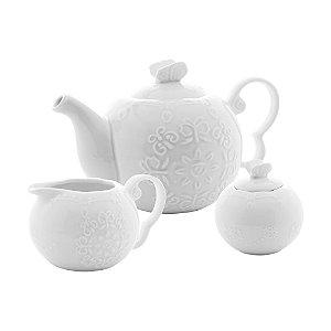 Conj 3 Peças Porcelana para Chá Butterfly Branco 26412
