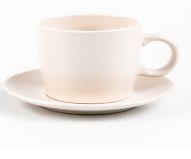 Jogo 4 Xícaras com Pires para Chá Cerâmica Granilite Marfim 200ml 28571