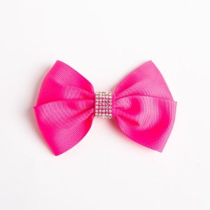 Laço Bromélia Pink Flúor Fita De Gorgurão No Bico De Pato Com Manta De Strass