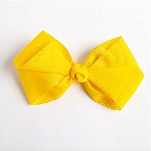 Laço Hortência Amarelo Escuro Fita De Gorgurão No Bico De Pato Com Nó No Meio