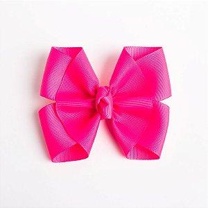 Laço Lírio Pink Flúor Fita De Gorgurão No Bico De Pato Com Nó No Meio