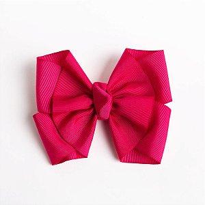 Laço Lírio Pink Escuro Fita De Gorgurão No Bico De Pato Com Nó No Meio