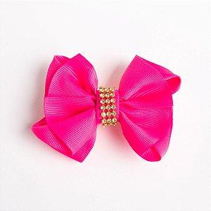 Laço Margarida Pink Flúor Fita De Gorgurão No Bico De Pato Com Manta Dourada
