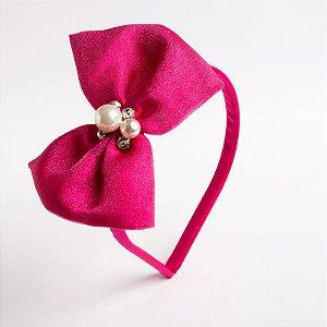 Tiara Palma Pink Laço De Organza Com Aplique No Meio