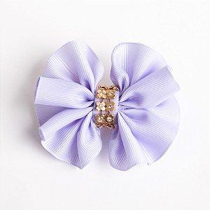 Laço Violeta Lilas Fita De Gorgurão No Bico De Pato Com Manta Dourada