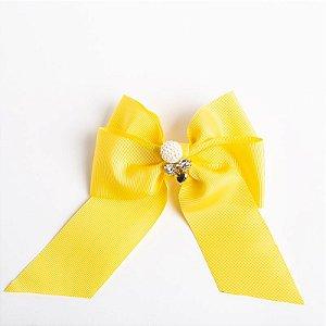 Laço Cerejeira Amarelo  Fita De Gorgurão Com Aplique No Meio