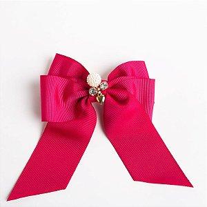 Laço Cerejeira Pink Escuro Fita De Gorgurão Com Aplique No Meio