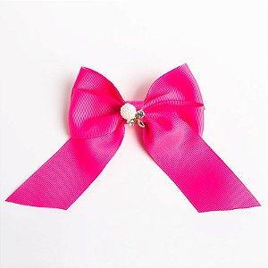 Laço Cererejeira Pink Flúor Fita De Gorgurão No Bico De Pato Com Aplique No Meio