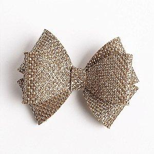 Laço Girassol Bronze Couro De Glitter