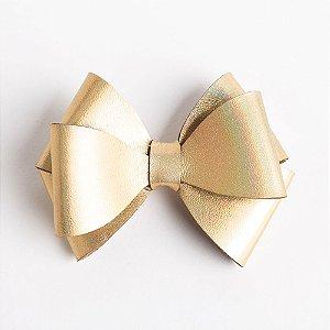 Laço Girassol Dourado Holográfico Couro De Glitter