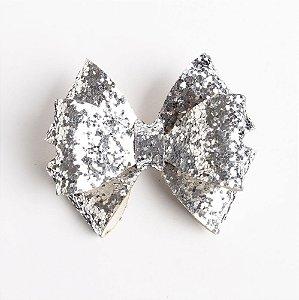 Laço Girassol Prata Couro De Glitter