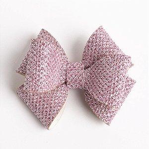 Laço Girassol Rosa Couro De Glitter