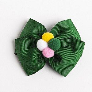 Laço Carambola Verde Bandeira Fita de Gorgurão Com Pompom No meio No Bico De Pato