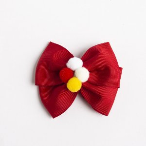 Laço Carambola Vermelho Fita de Gorgurão Com Pompom No meio No Bico De Pato