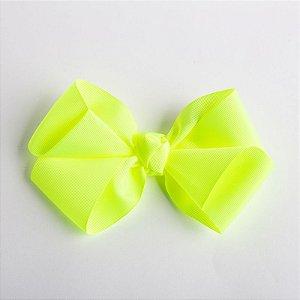 Laço Hortência Amarelo Fluor Fita De Gorgurão