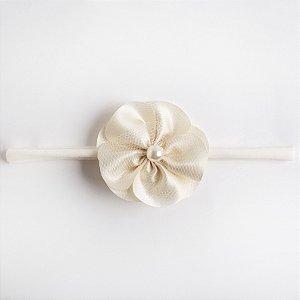 Faixa Irís Branca De Meia Flor De Voal Aplique No Meio