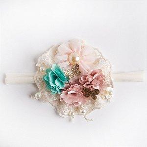 Faixa Goiaba De meia Com Florzinhas De Voal E Cetim