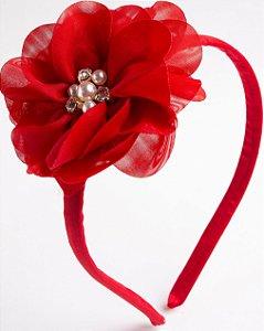 Tiara Camélia Vermelho Flor De Voal Apliques No Meio