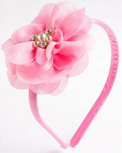 Tiara Camélia Rosa Flor De Voal Apliques No Meio