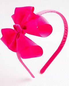 Tiara Salvia Pink Flúor Fita De Gorgurão Com Nó No Meio