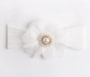 Faixa Dália Branco Flor De Organza Com Aplique No Meio