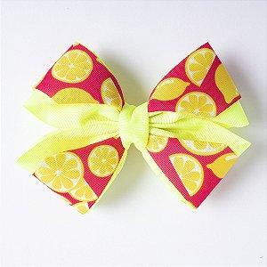 Laço Salada De Fruta Amarelo Neon Com Limão