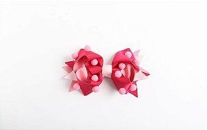 Laço Confete Pink/Rosa Com Pompom Rosa