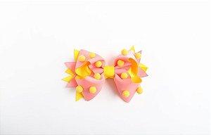 Laço Confete Rosa/Amarelo Com Pompom Amarelo