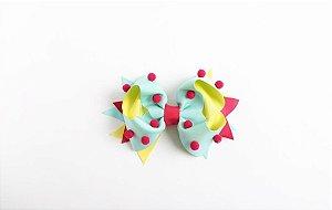 Laço Confete Tiffany/Amarelo Com Pompom Pink