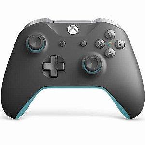 Controle Sem Fio Xbox One Cinza e Azul - Microsoft