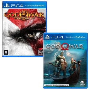 Combo God of War 3 + God of War 4 - PS4