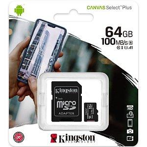Cartão de Memória Micro SD Ultra Classe 10 100MB/S 64GB - Kingston